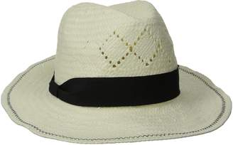 Physician Endorsed Women's Belize Fedora Straw Sun Hat with Ribbon Trim Rated UPF 30+ for Sun Protection