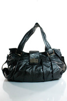 Kooba Dark Gray Leather Pleated Silver Hardware Hobo Shoulder Handbag