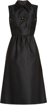 No.21 NO. 21 Point-collar embellished satin dress