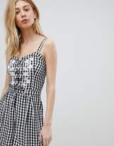 Hollister Gingham Romper with Lace Front