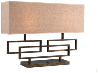 Woodbridge Lighting Twin 2-Light Table Lamp, Hand-Painted Antique Brass