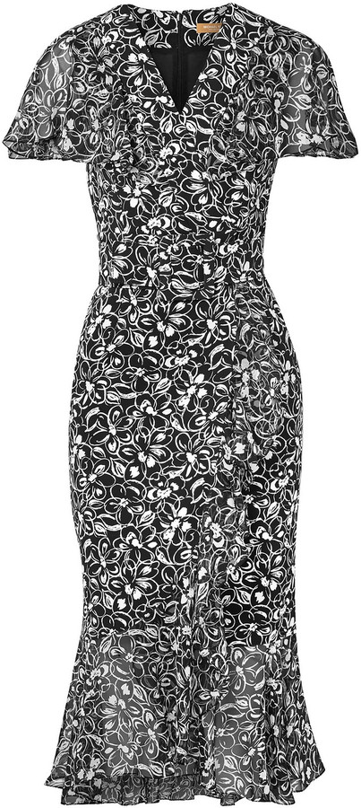 Michael Kors Collection Wrap-effect Fluted Floral-print Crepe Dress