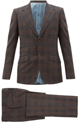 Gucci Jacquard-motif Checked Wool Two-piece Suit - Mens - Brown Multi