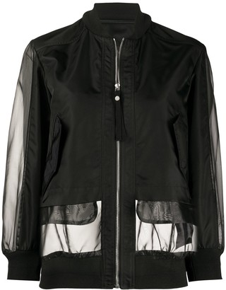 Mr & Mrs Italy Sheer Panel Bomber Jacket