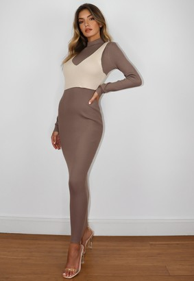 Missguided Petite Grey 2 Piece Knit Maxi Dress