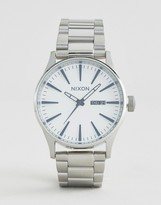 Nixon Sentry SS Stainless Steel Watch In Silver