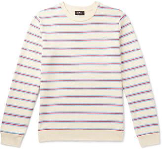 A.P.C. Logo-Print Striped Loopback Cotton-Jersey Sweatshirt
