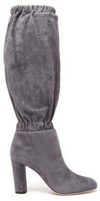 Jimmy Choo Maxyn 85 Knee-high Suede Boots - Womens - Grey