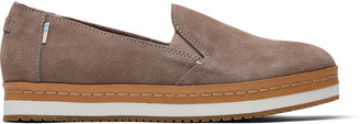 Toms Taupe Grey Suede Palma Women's Slip-Ons