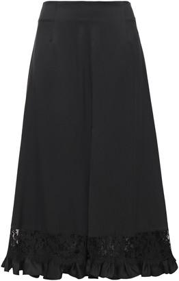 Magda Butrym Lace-trimmed Ruffled Silk-cady Midi Skirt