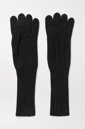 Loro Piana Hayden Sequin-embellished Cashmere Gloves - Black