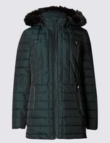 Marks and Spencer Faux Fur Longline Padded & Quilted Coat