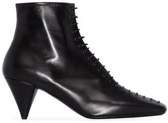 Jil Sander Square-Toe Lace-Up Ankle Boots