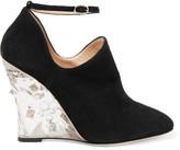 Valentino Embellished suede wedge pumps
