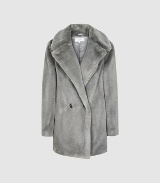Reiss Lexington - Faux Fur Coat in Grey