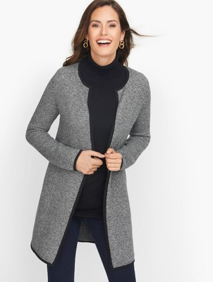 Talbots Textured Open Front Sweater Jacket - Marled
