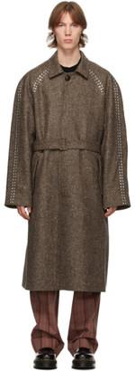 Stefan Cooke Brown Wool Studded Coat