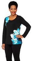 As Is Susan Graver Liquid Knit Floral Print Long Sleeve Top