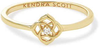 Kendra Scott Fleur 14k Band Ring In White Diamond