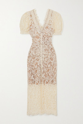 Self-Portrait Camellia Crystal-embellished Cotton-blend Corded Lace Midi Dress - Ivory