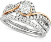 Macy's Diamond Two-Tone Overlap Bridal Set (7/8 ct. t.w.) in 14k White and Rose Gold
