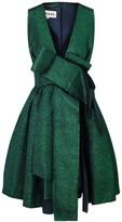 Awake Green Metallic Jacquard Bow Dress