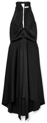Chloé Asymmetric Open-back Draped Satin Dress