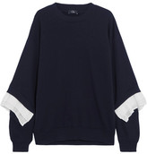 Clu Crepe-trimmed Cotton-jersey Sweatshirt - Navy