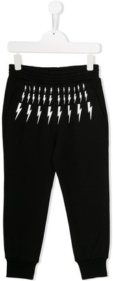 Neil Barrett Kids thunderbolt print tracksuit trousers