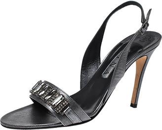 Gina Grey Leather Embellished Slingback Sandals Size 41