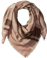 Pure Style Girlfriends Women's Multi-Striped Square Scarf with Fringe Edge Detail Win