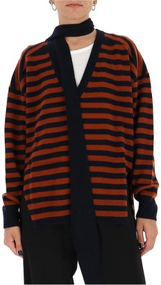 Chloé Bow Striped V-Neck Sweater