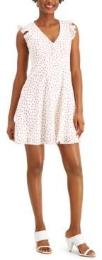 Bar III Ruffled Polka-Dot A-Line Dress, Created for Macy's