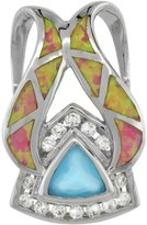 Sabrina Silver Sterling Silver Blue Topaz CZ Pendant Synthetic Opal Inlay 8 mm Trillion cut, 1 1/8 inch tall
