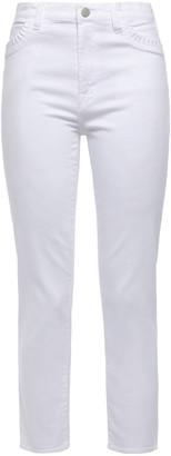 J Brand Cropped Pleated High-rise Slim-leg Jeans