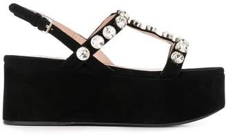 Miu Miu crystal embellished 75mm flatform sandals