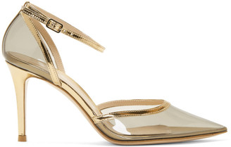 Gianvito Rossi Grey and Gold Plexi Ankle Strap 85 Heels