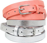 Yours Clothing Silver & Coral Skinny Waist Belt - 2 Pack