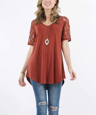 Lydiane Women's Tunics DK - Dark Rust V-Neck Lace-Sleeve Curved-Hem Tunic - Women