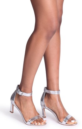 Barely There Linzi Kira Silver Metallic Small Heeled Sandals