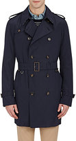 Aquascutum London Men's Double-Breasted Belted Trench Coat-NAVY