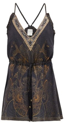 Camilla Hieroglyph-print V-neck Silk Playsuit - Womens - Black Print