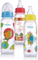 Nuby 3 Pack Standard Neck Printed Bottles 8oz Yellow/Blue/Red