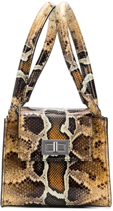 BY FAR Snake-Print Structured Tote