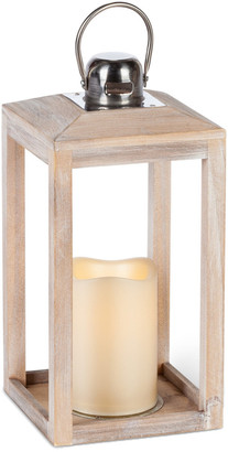 Everlasting Glow 11.25In Faded-White Wood Antique Lantern