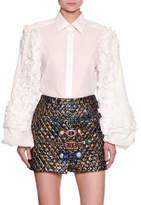 Dolce & Gabbana Ruffle-Sleeve Poplin Blouse, White