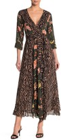 Z&L Europe Mixed Print Midi Wrap Dress