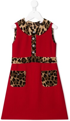 Dolce & Gabbana Leopard Print Trim Dress