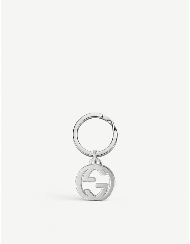 Gucci Interlocking GG sterling silver keyring