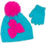 Pink Platinum Blue & Pink Bow Beanie & Glove Set